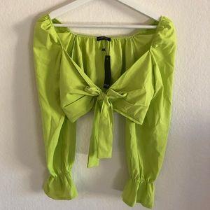 Green Crop Top Tie top